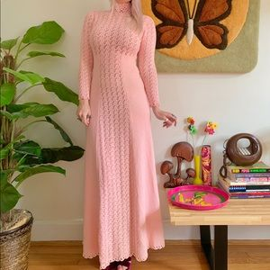 Vintage 70s pink crochet Saks Fifth maxi dress S